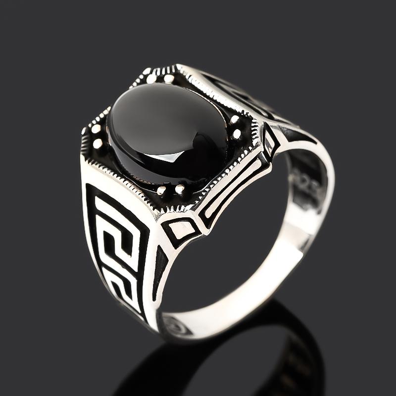 Кольцо агат черный Бразилия (серебро 925 пр. оксидир.) размер 20,5