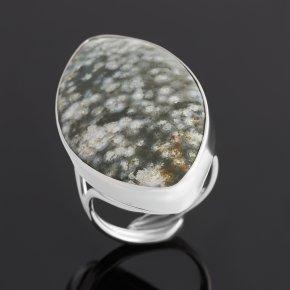 Кольцо яшма океаническая Мадагаскар (серебро 925 пр. родир. бел.) (регулируемый) размер 18,5