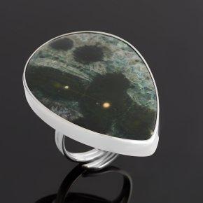 Кольцо яшма океаническая Мадагаскар (серебро 925 пр. родир. бел.) (регулируемый) размер 17,5