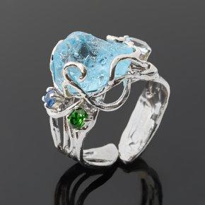Кольцо топаз голубой Бразилия (серебро 925 пр. позолота, родир. бел.) (регулируемый) размер 17,5