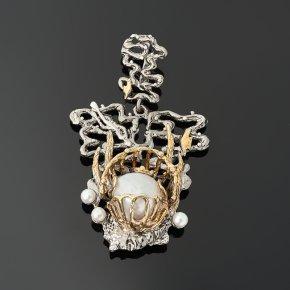 Кулон жемчуг барокко белый (серебро 925 пр. позолота, родир. бел., родир. черн.)