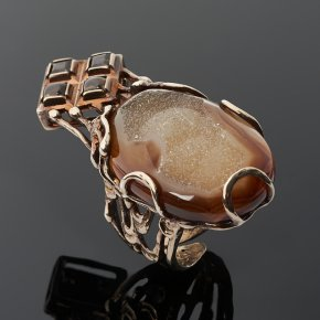 Кольцо микс агат, раухтопаз (серебро 925 пр. позолота) (регулируемый) размер 17,5