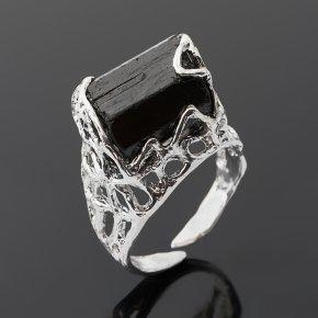 Кольцо турмалин черный (шерл) Австралия (серебро 925 пр. позолота, родир. бел.) (регулируемый) размер 17,5