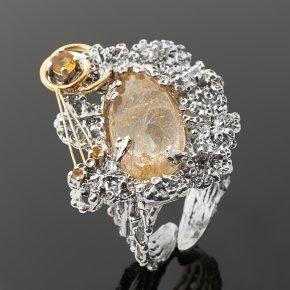 Кольцо рутиловый кварц Бразилия (серебро 925 пр. позолота, родир. бел.) (регулируемый) размер 18