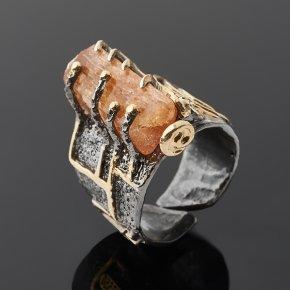 Кольцо топаз винный Бразилия (серебро 925 пр. позолота, родир. черн.) (регулируемый) размер 18,5