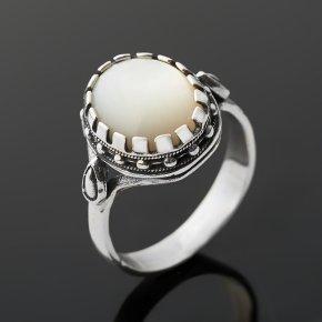 Кольцо перламутр белый Индонезия (серебро 925 пр. оксидир.) размер 17,5