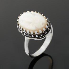 Кольцо перламутр белый Индонезия (серебро 925 пр. оксидир.) размер 18
