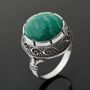 Кольцо амазонит Россия (серебро 925 пр. оксидир.) размер 18