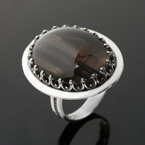 Кольцо обсидиан коричневый Армения (серебро 925 пр. оксидир.) размер 17,5