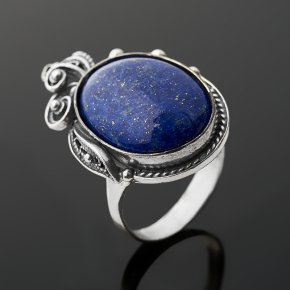 Кольцо лазурит Афганистан (серебро 925 пр. оксидир.) размер 18