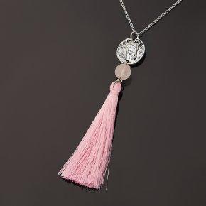 Кулон розовый кварц Бразилия (биж. сплав, сталь хир., текстиль)
