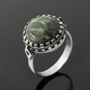 Кольцо клинохлор (серафинит) Россия (серебро 925 пр. оксидир.) размер 18