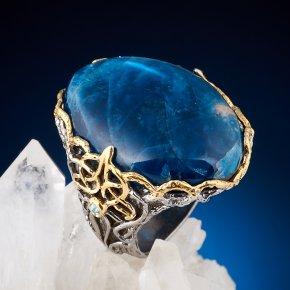 Кольцо апатит синий Бразилия (серебро 925 пр. позолота, родир. сер.) размер 18,5