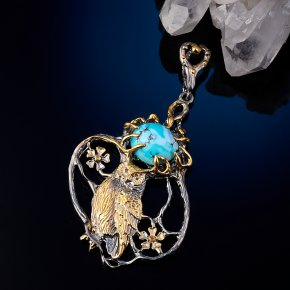 Кулон бирюза Казахстан (серебро 925 пр. позолота, родир. сер.)