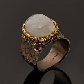 Кольцо лунный камень (адуляр) Индия (серебро 925 пр. позолота, родир. черн.) размер 18