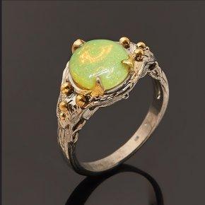 Кольцо опал благородный желтый Эфиопия (серебро 925 пр. позолота, родир. черн.) размер 17