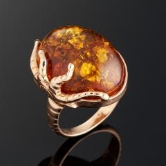 Кольцо янтарь Россия (серебро 925 пр., позолота) размер 17,5