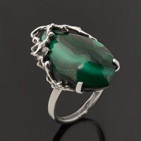Кольцо малахит Бразилия (серебро 925 пр.) размер 18,5