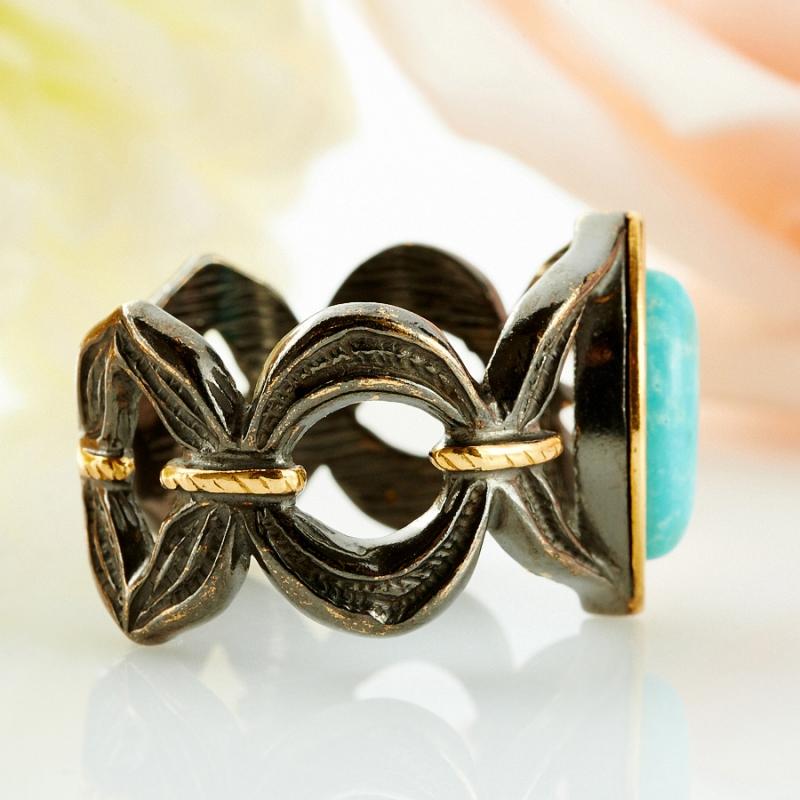 Кольцо бирюза США (серебро 925 пр., позолота, чернение) размер 22