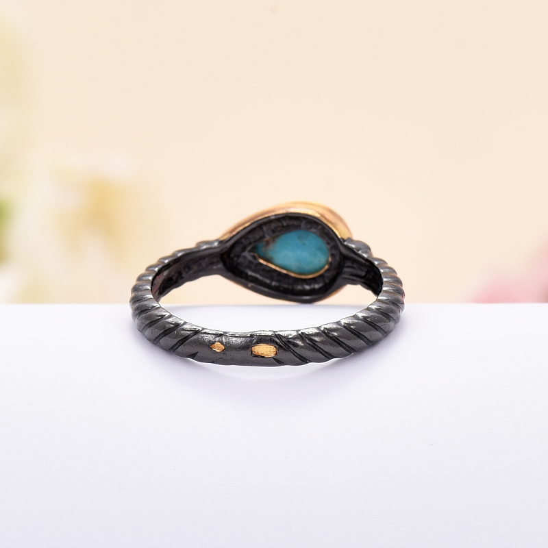 Кольцо бирюза Тибет (серебро 925 пр., позолота, чернение) размер 16,5