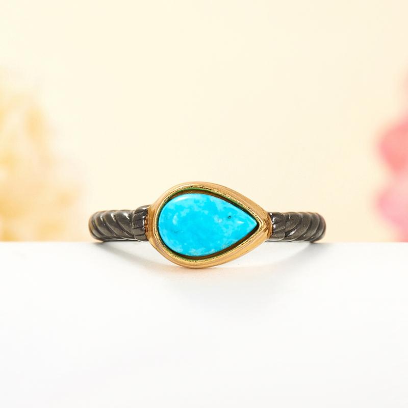 Кольцо бирюза Тибет (серебро 925 пр., позолота, чернение) размер 17,5