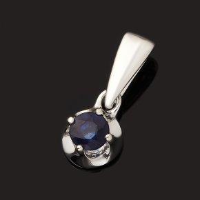 Кулон сапфир Индия (серебро 925 пр. родир. бел.) круг огранка