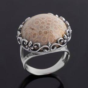 Кольцо коралл Индонезия (серебро 925 пр. оксидир.) размер 18