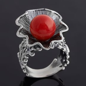 Кольцо коралл красный Индонезия (серебро 925 пр. оксидир.) размер 18,5