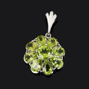 Кулон хризолит США (серебро 925 пр. родир. бел.) цветок огранка