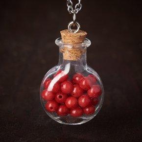 Кулон коралл красный Индонезия (биж. сплав, сталь хир., стекло) бутылочка 3 см