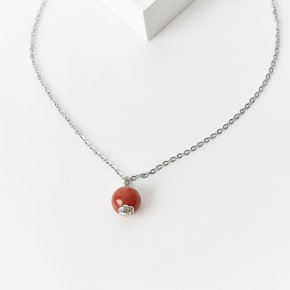 Кулон сердолик Ботсвана (биж. сплав, сталь хир.) шар
