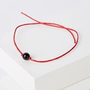 Браслет гагат Грузия (текстиль) красная нить 6 мм 28 см (регулируемый)