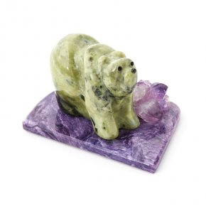 Медведь микс аметист, офиокальцит, чароит 5х7 см