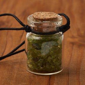 Кулон хризолит США (текстиль) бутылочка 3 см
