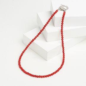 Бусы коралл красный Индонезия (биж. сплав, сталь хир.) 5 мм 45 см (+7 см)