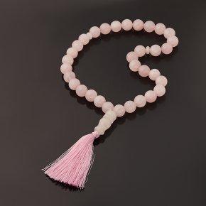 Четки розовый кварц Бразилия (текстиль) 12 мм (33 бусины)