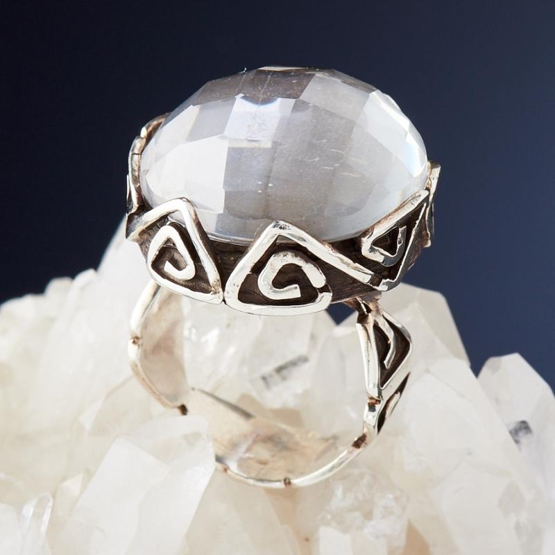 [del] Кольцо горный хрусталь Бразилия огранка (серебро 925 пр.) размер 16