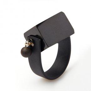 Кольцо гагат Грузия (каучук, биж. сплав) размер 19,5 (регулируемый)