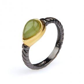 Кольцо нефрит зеленый Россия (серебро 925 пр. позолота, рутений) размер 17,5