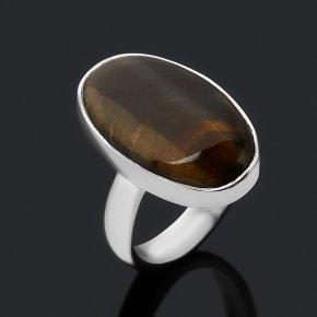 Кольцо тигрово-соколиный глаз ЮАР (серебро 925 пр.) (регулируемый) размер 17,5
