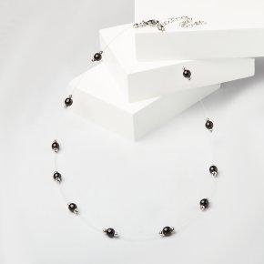Бусы гагат Грузия (биж. сплав, сталь хир.) 6 мм 50 см (+7 см)