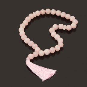 Четки розовый кварц Бразилия (текстиль) 12мм (33 бусины)