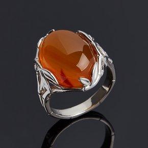 Кольцо сердолик Ботсвана (серебро 925 пр. родир. бел.) размер 17