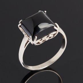 Кольцо агат черный Бразилия (серебро 925 пр. родир. бел.) размер 17