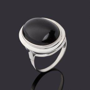Кольцо агат черный Бразилия (серебро 925 пр. родир. бел.) размер 18