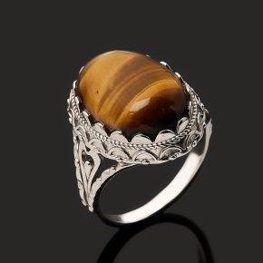 Кольцо тигровый глаз ЮАР (серебро 925 пр. родир. бел.) размер 18