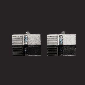 Запонки топаз swiss, голубой, лондон Бразилия (серебро 925 пр. родир. бел.) огранка