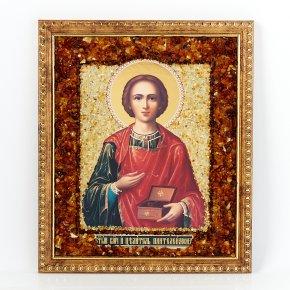 Изображение янтарь Россия Пантелеймон Целитель 24,5х20,5см