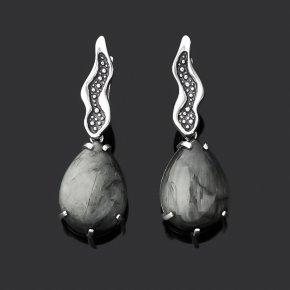 Серьги кошачий глаз (кварцевый) ЮАР (серебро 925 пр. оксидир.)