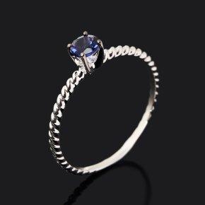 Кольцо иолит (кордиерит) Индия (серебро 925 пр. родир. бел., родир. черн.) огранка размер 17,5